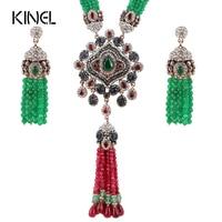 Kinel Natuursteen Indian Sieraden Sets Rood En Groen Kristal Zirkoon Antiek Goud Kleur Overdrijving Ketting Oorbellen Voor Vrouwen