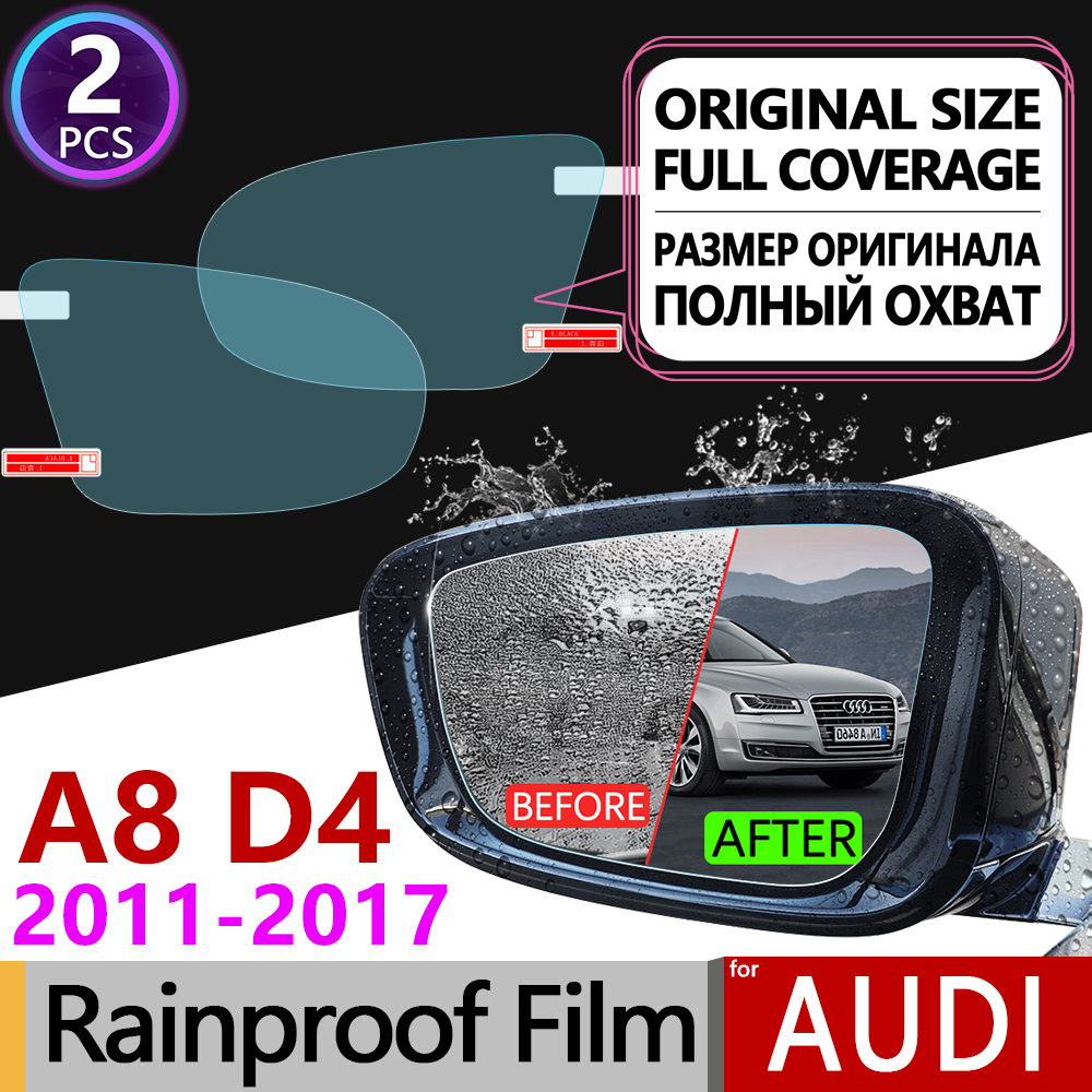 2Pcs for <font><b>Audi</b></font> <font><b>A8</b></font> D4 2010 - 2017 <font><b>4H</b></font> Full Cover Anti Fog Film Rearview Mirror Rainproof Foils Clear Films Accessories S8 A8L image