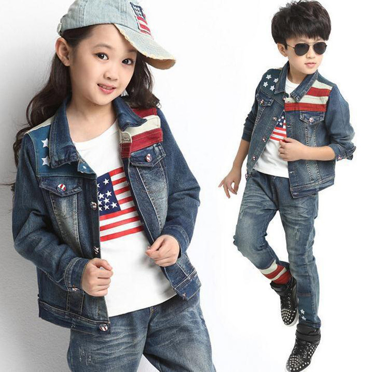 ФОТО 2015 Autumn Winter Kids Clothes Cowboy Suit 3 pcs Girls Outfits Jeans Jacket Clothing Children Set 3-13 Years old Boys Clothes
