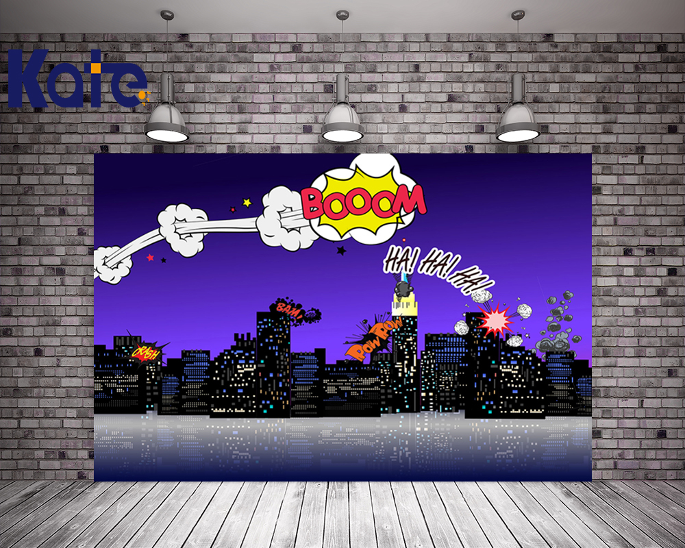 KATE 5x7ft Photography Backdrops Children Cartoon Night City Backdrop Superhero Party Background Kids Birthday Party Photo