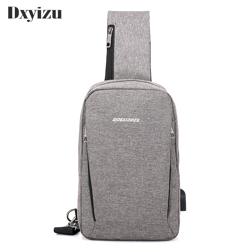 Mens Crossbody Bags Single strap Shoulder Bag USB Charging Casual Chest Bag Male Nylon Clutch Back Pack For Travel