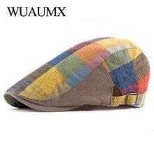 Wuaumx Spring Summer Berets Hats For Women Men Multicolor Plaid Herringbone Caps Duckbill Newsboy Cap Thin Cabbie Ivy Flat Hat