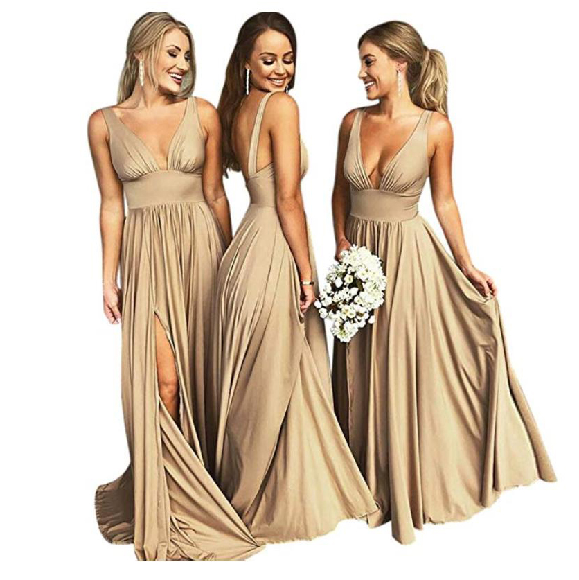 V-Neck Backless Slit Side Beach Wedding Bridesmaid Dresses wedding ...
