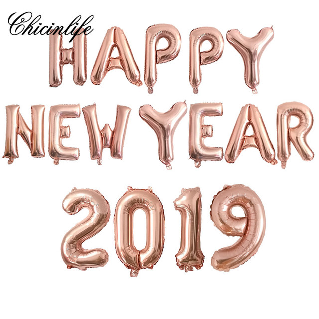 chicinlife rose gold 16inch happy new year 2019 foil balloon banner christmas new year eve party