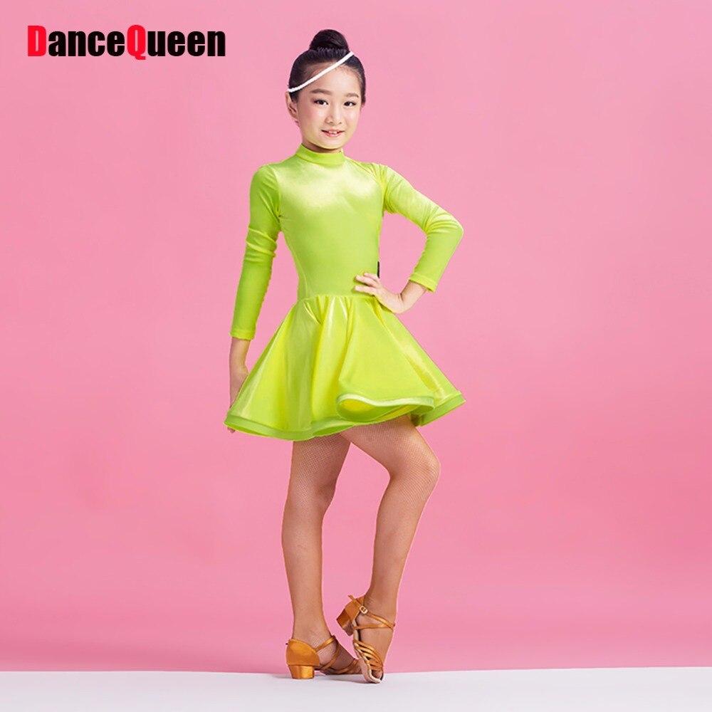 Comodidad Latino baile Vestidos para la muchacha verde color negro s ...