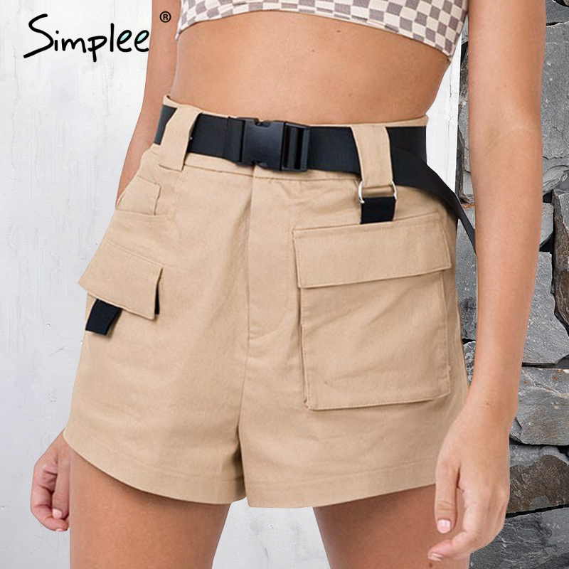 Simplee Pocket loose khaki cargo shorts Women sash high waist causal shorts femme Straight zipper black summer shorts 2018 ...