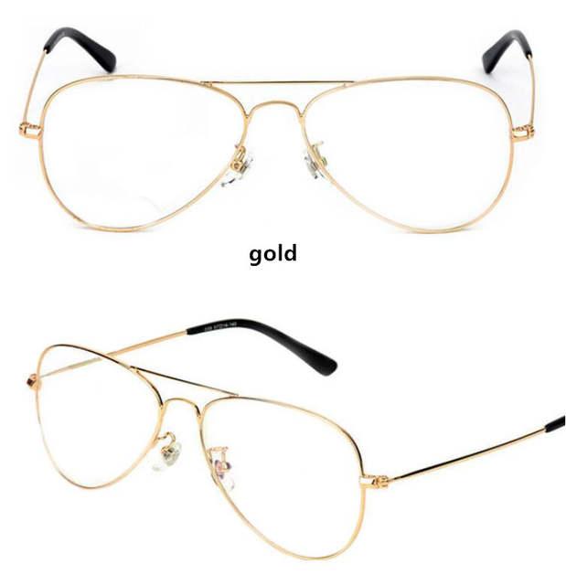 eddfd21caa5 HBK Classic Clear Glasses Gold Frame Vintage Sunglass Women Men Optical  UV400 Aviation eyeglass Transparent Clear