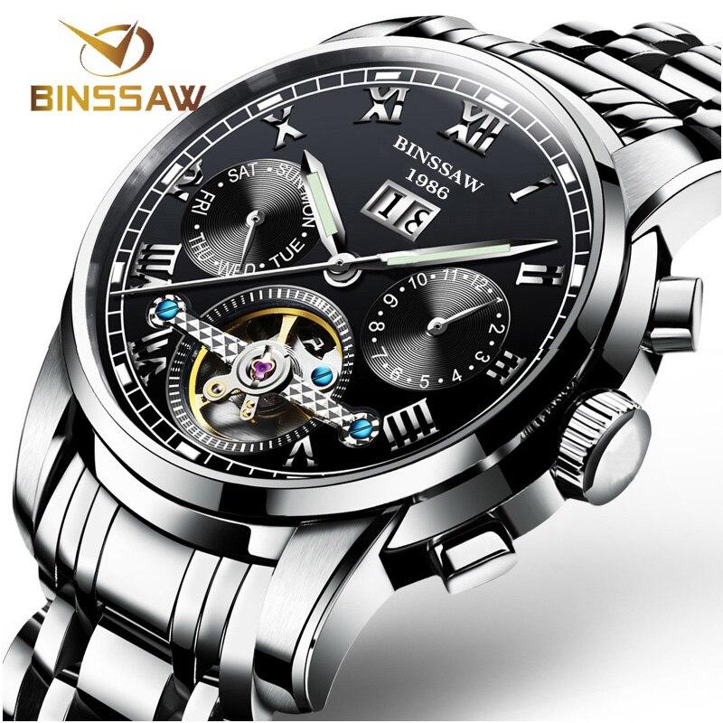 BINSSAW Mannen Automatische Mechanische Horloges Tourbillon Merk Luxe Rvs Relojes Montre Homme Polshorloge Reloj Hombre-in Mechanische Horloges van Horloges op  Groep 3