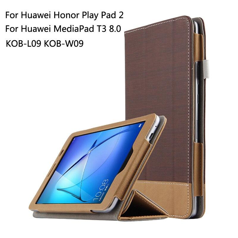 For Huawei MediaPad T3 8.0 KOB-L09 KOB-W09 for Honor Play Pad 2 Ultra Slim Canvas Folio Stand PU Leather Case Cover + Gift case for huawei mediapad t3 8 0 kob l09 pu leather 8 inch tablet case for huawei t3 kob w09 smart print flip stand funda stylus