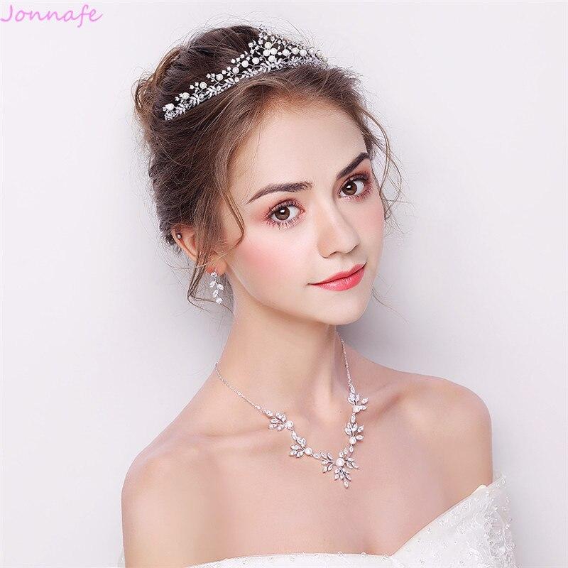 Jonnafe charmant ensemble de bijoux en argent de mariée avec perles de diadème accessoires de bal de mariage femmes collier boucles d'oreilles ensemble