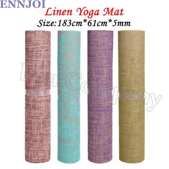 New Design 183*61cm 5MM Thickness Linen Fiber Yoga Mat Non-slip Tasteless Exercise Pad Lose Weight Mat Sports Accessories