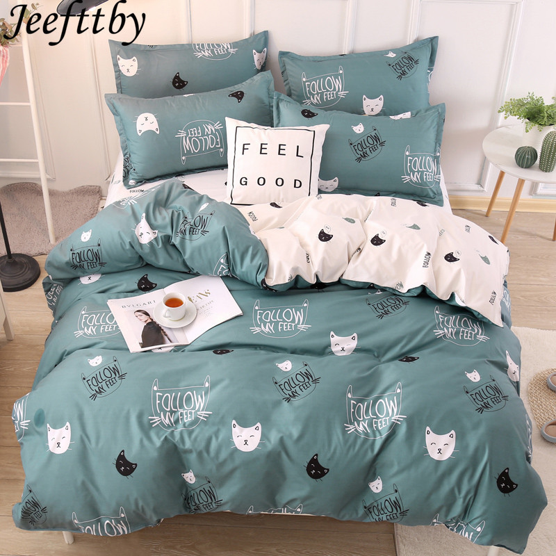 Home Textile Winter Cartoon Cat Patterns Bedding Set 3/4pcs Full King Twin  Queen King Size Bed Sheet Duvet Cover Pillowcase Sets