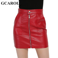 GCAROL 2017 Women Faux Leather Skirt Sexy PU Mini Skirt With Two Pockets High Quality A