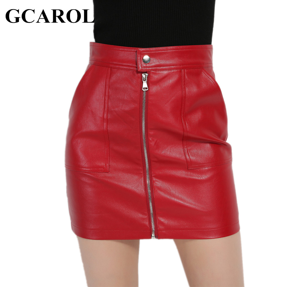 GCAROL 2018 Women Faux Leather Skirt Sexy PU Mini Skirt With Two Pockets High Quality A-Line Red Basic Skirt For 4 Season