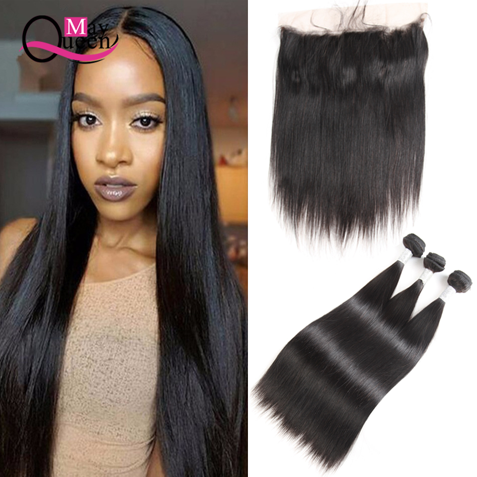 May Queen Brazilian Straight Hair Bundles With Lace Frontal Closure 4Pcs 100% Remy Human Hair Bundle Free Part Closure