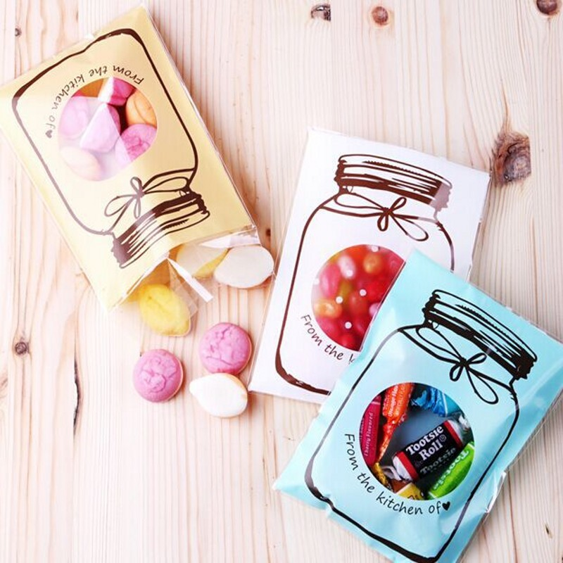100pcs 3 Size Bottle Pattern Plastic Christmas Birthday Party Wedding Gift Candy Bag Biscuit Cookie Jewelry Packaging Bags B096