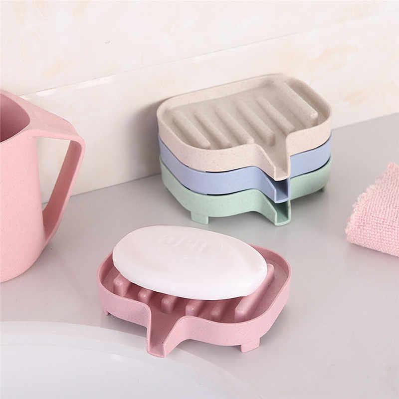 ISHOWTIENDA 11,5X8X3 см Гибкая мыльница для ванной комнанты Органайзер Хранение держатель стойки мыльницы пластина сушка на подносе пшеничное волокно + ПП держатель