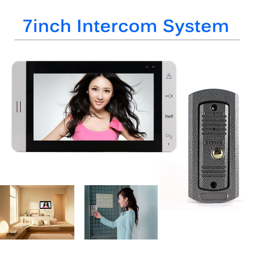 7inch HD Screen Video Door Phone Doorbell Intercom System And 700tvl Out Camera Unit Support Cctv Camera Input