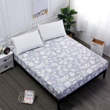 Polyester Gray Fitted Sheet With Elastic Band Deep 25cm Mattress Cover Feather Bear Flower Leaf Printed Durable Bedding Linens