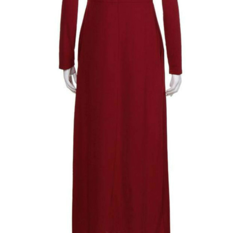 Mise à l'échelle Femmes Robe, Femmes Automne O Cou Casual Solide Maxi Robe Lâche À Manches Longues Étage Longueur Robe 15 pièces
