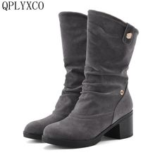 QPLYXCO 2017 Winter Boots Botas Mujer Big Size 34-43 New Round Toe short Boots For Women Casual Fashion Warm snow Shoes 3879 size 34 43 winter women snow boots warm round toe comfortable flat shoes female footwear fashion botas popular 896