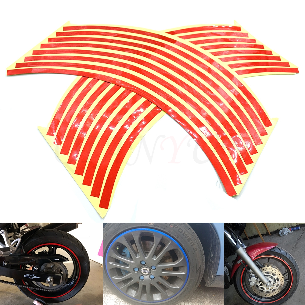 "18/"" 16 Strips Reflective Motorcycle Car Rim Stripe Wheel Decal Tape Sticker New"