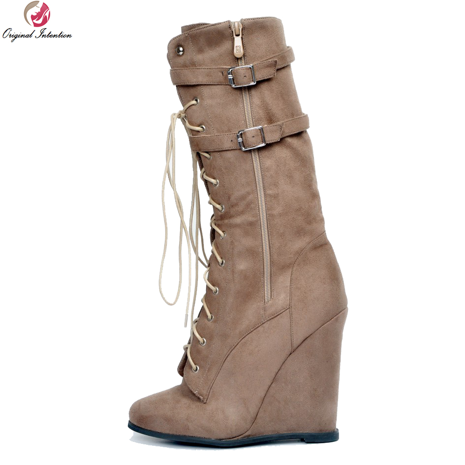 Original Intention New Fashion Women Mid-Calf Boots Stylish Round Toe Wedges Boots Sexy Brown Shoes Woman Plus US Size 4-15 gladiator lady mid calf cowboy flats boots shoes round toe fringed slip on fashion boots leather long sexy boots shoes free ship