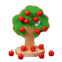 MOTOTO Montessori Wooden Magnetic Apple Tree Math Toys Early Learning Educational Wooden Toys For Children Christmas Gifts