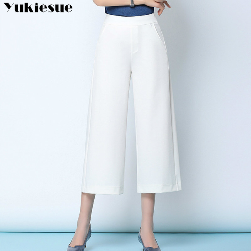 streetwear summer women's white work   pants   female high waist   wide     leg     pants   capris for women trousers woman Plus size 5xl 6xl