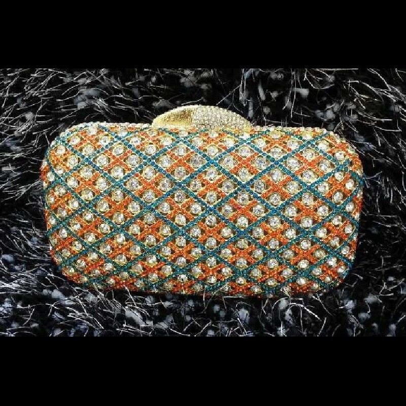 ФОТО A6607 color-A Crystal Lady Fashion Wedding Bridal Party Night Golden hollow Metal Evening purse clutch bag case box handbag