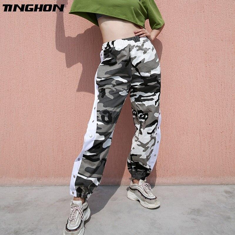 TINGHON Women Button Split Side Casual Camo   Pants     Capris   Streetwear Camouflage Joggers High Waist Sweatpants Hip Hop Trousers