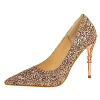 Shoes women Sping  Bling Pumps Glitter High Heel Shoes Woman Sexy Wedding Shoes Gold Silver Black 9219-12 Pumps