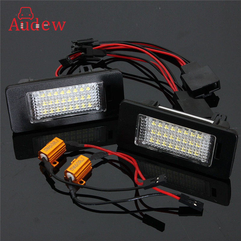 1Pair/2Pcs LED License Plate Light Number Plate Lamp For Audi A5 S5 TT/TTS Q5 07-09 Error Free 12V 2pcs 12v 31mm 36mm 39mm 41mm canbus led auto festoon light error free interior doom lamp car styling for volvo bmw audi benz