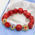 Wholesale price gold plated cloisonne spacer beads natural irregular red coral 9-13mm diy strand bracelet jewelry 7.5inch B2721