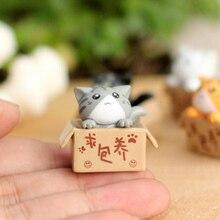 ZOCDOU 1 unidades de dibujos animados caja de los pobres gato Kitty gatito pequeño modelo estatua coche estatuilla artesanía figura jardín adorno DIY miniaturas