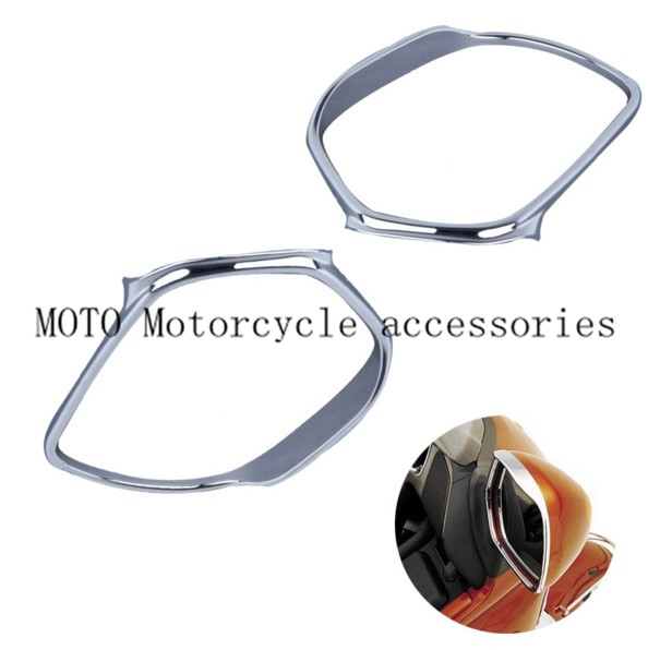 Chrome Motorcycle Mirrors Trim Decoration For Honda GOLDWING GL1800 2001-2006 2007 2008 2009 2010 2011 Mirrors Frame Trim Case abs chrome front grille around trim for ford s max smax 2007 2010 2011 2012
