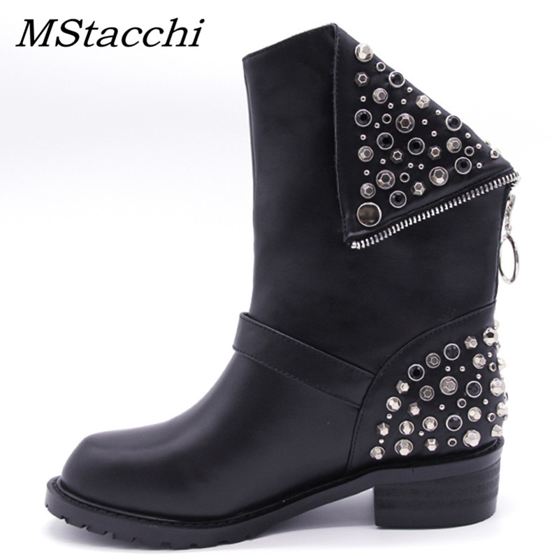 MStacchi Rhinestone Rivets Square Heels Autumn Winter Women Ankle Boots Brand New High Quality PU + Genuine Leather Shoes WomanMStacchi Rhinestone Rivets Square Heels Autumn Winter Women Ankle Boots Brand New High Quality PU + Genuine Leather Shoes Woman