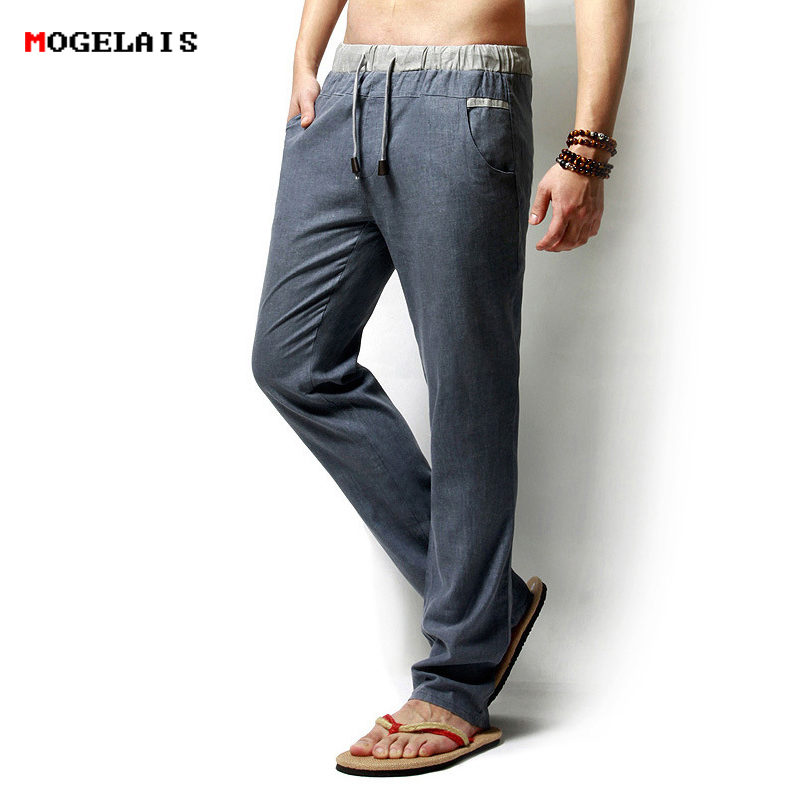 MOGELAISI Drawstring Flax Straight Full Length solid Cotton Home Men's Trousers Linen