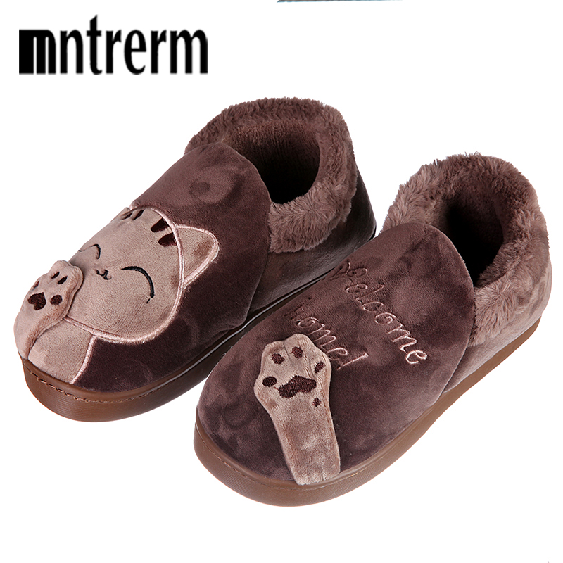 Mntrerm Men Winter Warm Home Slippers Cartoon Lucky Cat Non-slip Home Shoes Men Indoor Floor Bedroom Couple Plush House Shoes