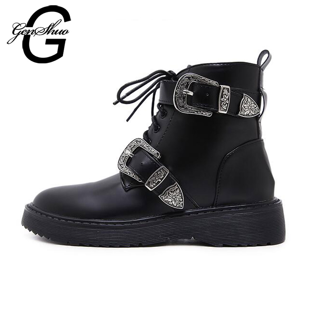 GENSHUO Women Boots Black Ankle Boots Buckle Round Toe Zipper PU Leather Ladies Short Boots for Fall Autumn Spring Big Size 40 frank buytendijk dealing with dilemmas where business analytics fall short