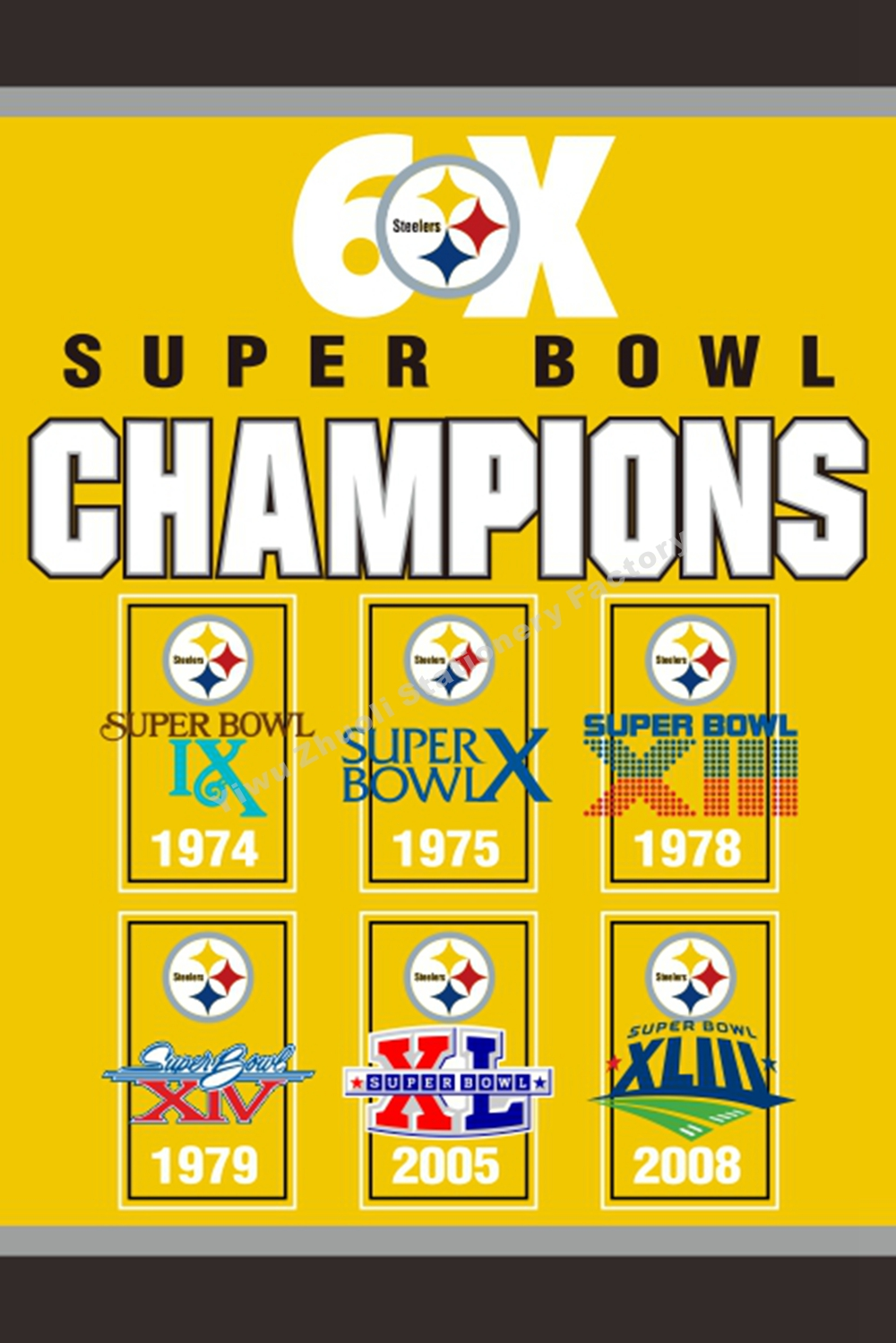 Pittsburgh Steelers Super Bowl Champions 6X Flag 3ft x 5ft Polyester NFL Team Banner Flying Size No.4 96* 144cm Custom flag