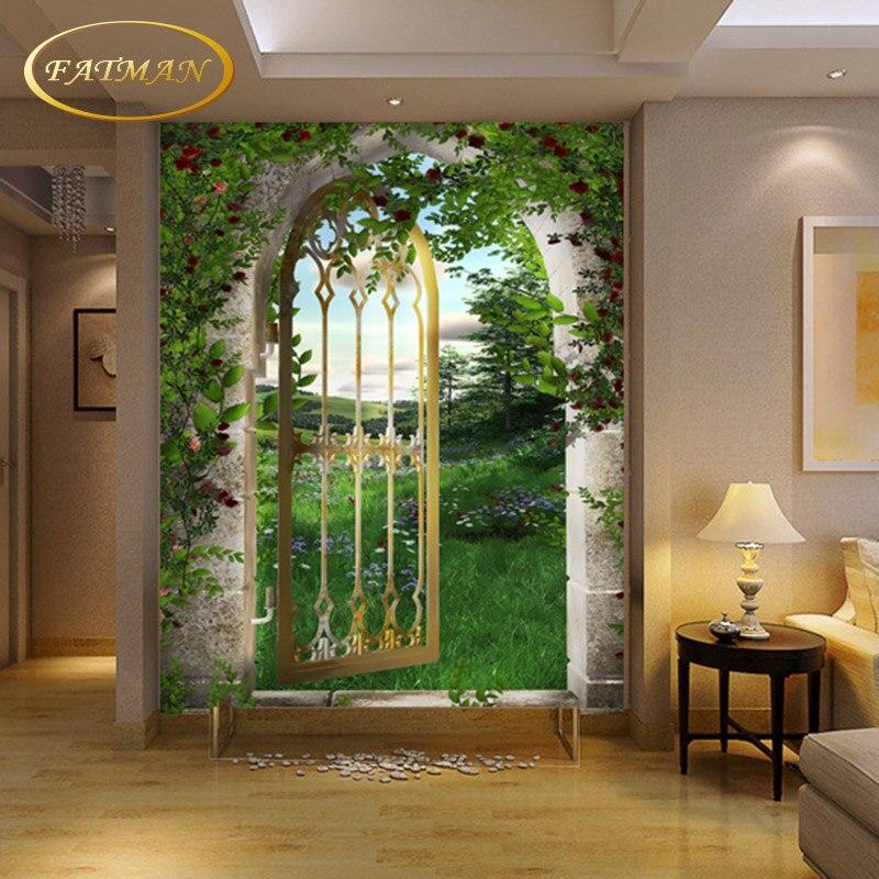 Custom 3D Photo Wallpaper False Door Roman Arch Wallpaper Living Room Hallway Mural Wallpaper Home Decoration Papel De Parede