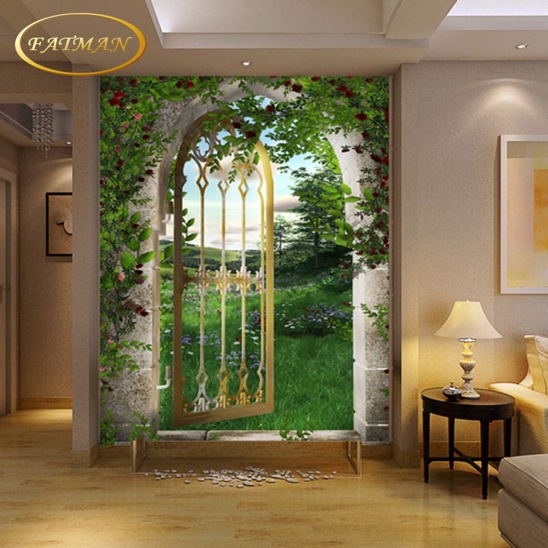 3d door roman arch false mural papel living hallway decoration wallpapers custom develop parede para effect