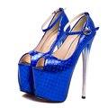 Sexy Ouro Azul Rosa Quente Das Mulheres Do Partido Sapatos de Ultra Salto Alto plataforma Sapatos De Noiva Peep Toes Tornozelo Strap Night Club Shoes 6678-1