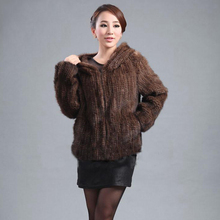 Real Fur Coats For Women New 2016 Colete De Pele With Hooded&Gift Black/Brown Eles Naturais Overcoat Knitted Jacket Mink-coats