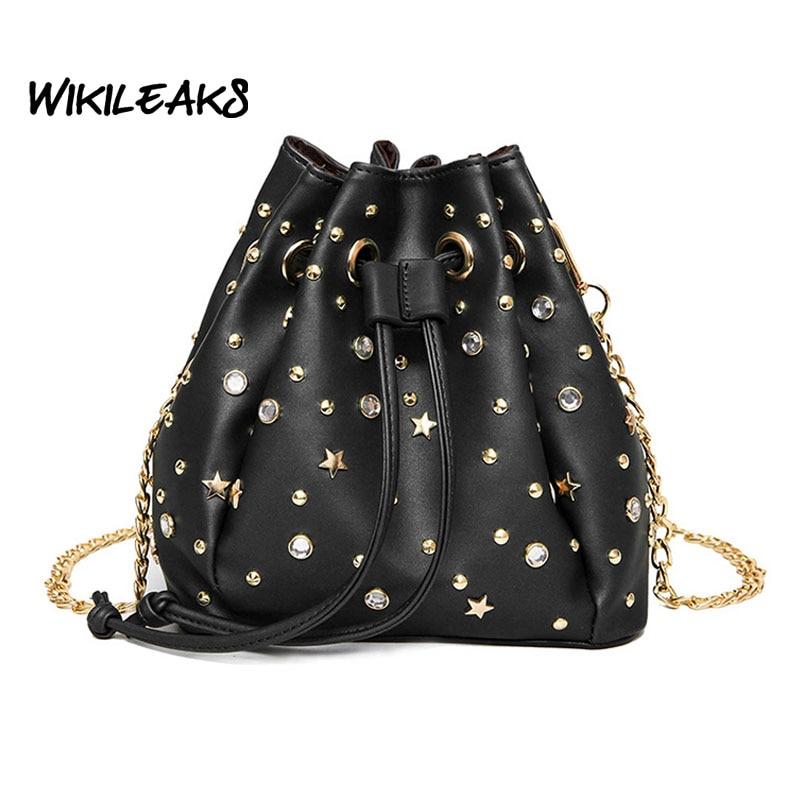 2017 Famous Designed Women Corssbody Bags Stud Diamond Bucket Shaped Shoulder Bag PU Leather Bags Female