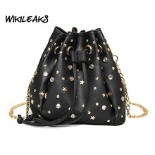 2017 Famous Designed Women Corssbody Bags Stud Diamond Bucket Shaped Shoulder Bag PU Leather Bags Female Chain Small Bags D110