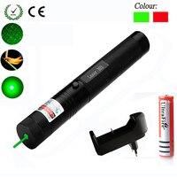 Verde/vermelho laser ponteiro 532nm 5 mw 303 laser caneta ajustável estrelado cabeça queima jogo lazer com 18650 bateria + carregador