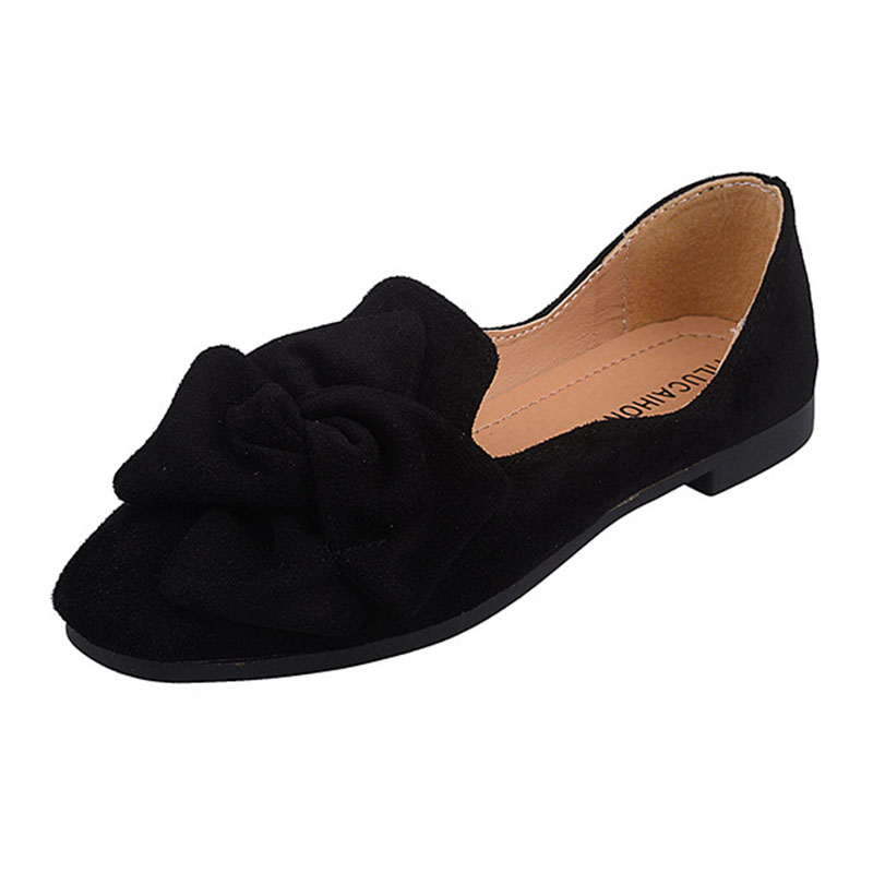 Hot Sale Women Shoes Flat Heel Slip-On Comfortable Flat Shoes Faux Suede Loafers Round Toe Single Shoes for Spring Autumn
