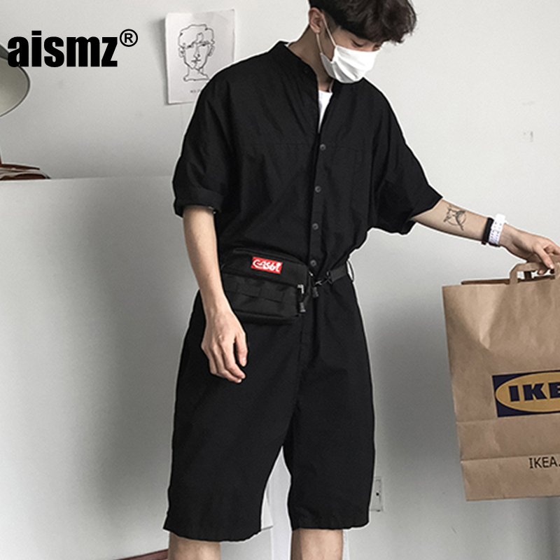 Aismz Fashion Jumpsuit Mens Rompers Shorts Jumpsuit Male Handsome Baggy Overalls Short Sleeve Palysuit Cargo tracksuit men ...